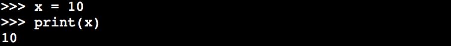 xに10を代入する例