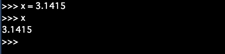 xへの代入の後、代入した値を表示