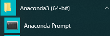 anconda prompot in start menu