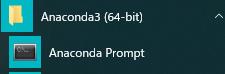 anconda prompot in start menu